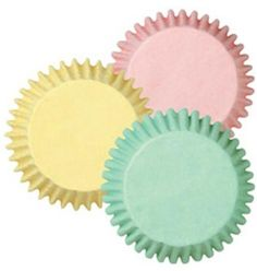 Pastel Baking Cups in light pink, butter yellow and mint green | 75ct for $2.00...also in mini size  {Kara's Party Ideas Shop}