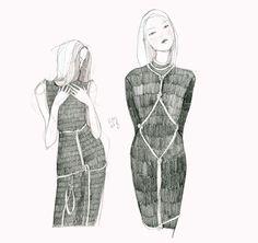 Shibari Ropes at Eilish Macintosh. Sketch inspired by #LFW / Fashion Illustration.