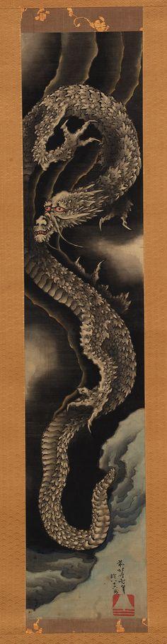 Ascending dragon by Katsushika Hokusai 葛飾北斎 (1760 - 1849),  Edo period, 1760-1849