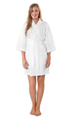 Lightweight Knee Length Waffle Kimono Bridesmaids Spa Robe * You can get additional details at the image link.