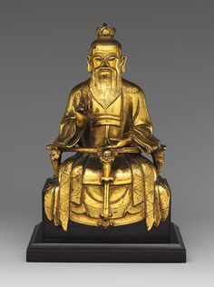 Daoist Immortal Laozi, also identifiable as Celestial Worthy of Primordial Beginning, Ming dynasty (1368–1644), dated 1438  Chen Yanqing (Chinese, active 15th century)  Gilt brass, lost-wax cast