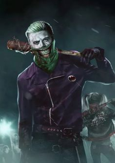 Uhh Joker/Harley Quinn and Walking Dead Negan mash up! - Visit to grab an amazing super hero shirt now on sale! Der Joker, Joker Art, Joker And Harley Quinn, Manga, Jokers Wild, Joker Pics, Joker Images, Heath Ledger Joker, Catwoman Cosplay