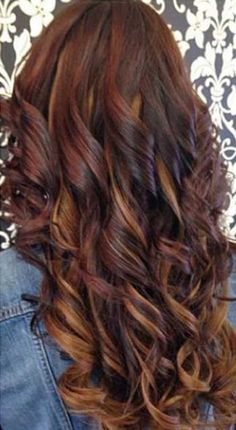 This hair color is so cute! Its like brown, auburn and a blonde. all my fav hair colors! This will be my new look next time i get my hair done! Love Hair, Great Hair, Gorgeous Hair, Brown Hair With Blonde Highlights, Auburn Highlights, Caramel Highlights, Chunky Highlights, Curly Hair Styles, Coiffure Hair