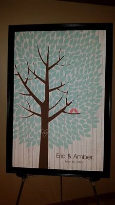 Whitewashed Wood Wedding Tree | Guest Book Alternative | Rustic Wedding | Customer Photo | Wedding Colors - Light Blue & Pink | peachwik.com