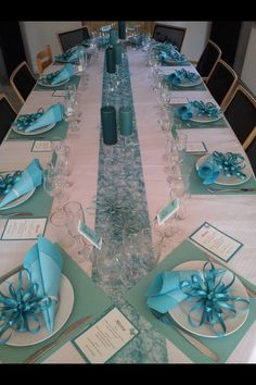 Party table – table # confirmation - New Sites Wedding Chair Decorations, Wedding Chairs, Party Centerpieces, Centerpiece Decorations, Wedding Table, Wedding Napkins, Rustic Wedding, Tiffany Blue Weddings, Tiffany Wedding