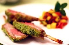 gordon ramsays herb crusted rack of lamb... James made this with mushy peas. Definitely a winner and nice to impress.