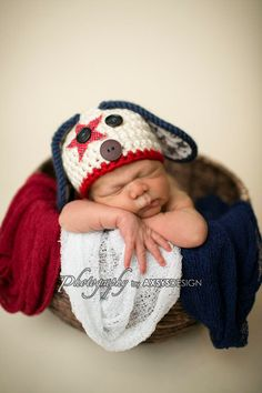 Baby Puppy Hat - 4th of July Hat- Photography Prop - Newborn Girl - Newborn Boy on Etsy, $30.00
