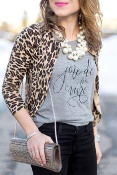 Joie de Vivre -- a Lettering + Style Collaboration Leopard Cardigan Outfit, Leopard Outfits, Animal Print Outfits, Leopard Sweater, Cardigan Outfits, Leopard Blazer, Animal Prints, Style Casual, Casual Outfits