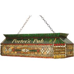 40 Inch L Personalized Porters Pub Oblong Pendant - Custom Made