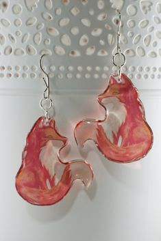 Red Fox Earrings Cute Earrings, Animal Lover Gift For Women, Woodland Dainty Butterfly Earrings, Butterfly Wings, Tiny Earrings, Earrings Handmade, Orange Red, Green And Purple, Fox Jewelry, Eco Resin, Shrinky Dinks