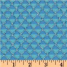 Stretch Nylon Knit Diamonds Silver/Aqua