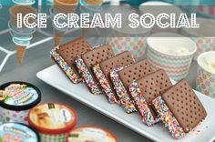 Ice cream social ice cream bar. Easy neighborhood kid party ideas.