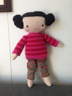 Doll outfit from thrifted clothes...Kit has a new sweater and cozypants!