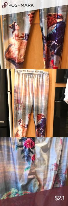 NWOT Beauty and the Beast leggings. Beauty and the beast leggings. Spandex stretch. Satin rayon look and feel. Very shiny silky. These are brand new, right out of the bag, I changed my mind and it was a pain to return them. There is no tag. But they are size xl Pants Leggings