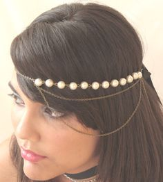 Bridal Headband Hair Jewelry Chain Pearl Headwrap par FunnyPeopleCo