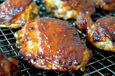 Sweet and Sticky Oven Baked Chicken Thighs. OMG this sounds amazing!