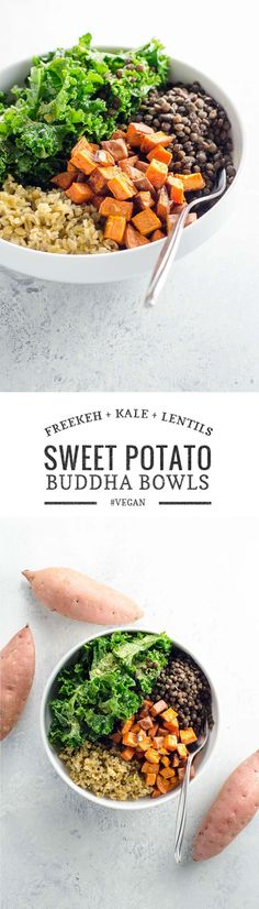 Healthy, vibrant, vegan and delicious. These sweet potato Buddha bowls with freekeh, lentils and lemony kale salad are ready in 30 minutes. via @umamigirl