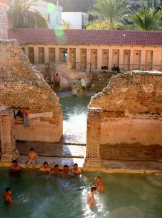A Roman bathhouse still in use after 2,000 years in Algeria. Even the plumbing is (mostly) original and there is hot water made for the bathers.