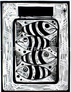 """Fish in a Jar"" lino print   by Prints Charming R.Tutt Printmaker Great idea for sgraffito pottery!"