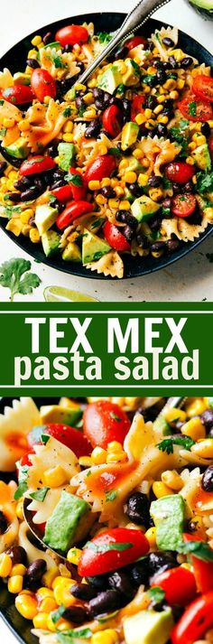 A delicious and super simple Tex Mex Pasta Salad with corn, black beans, cherry tomatoes, and avocados. An easy Catalina dressing tops this salad. Recipe via http://chelseasmessyapron.com