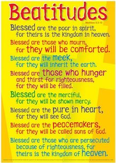The Beatitudes of Lord Jesus Christ: Blessings of Promises via The Holy Spirit for those who follow Christ, & His Doctrines:  Matthew 5:3-10