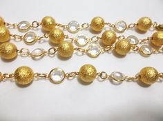 "SWAROVSKI Bezel Set Faceted AUSTRIAN CRYSTAL Necklace CLEAR GOLD BALLS 36"" #Swarovski #Chain"
