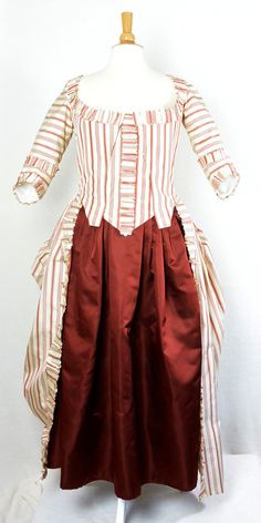 Polonaise Gown - edges  of  self  ruffles  are  hand  pinked