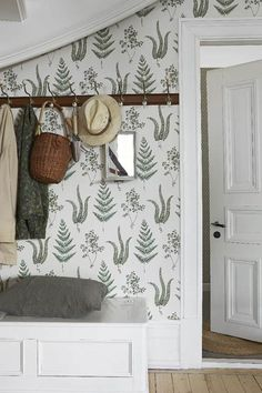 Emily Henderson Mountain Fixer Upper I Design You Decide 5 Styles Whimsical Scandinavian Cottage 01 Home Interior, Interior Decorating, Interior Design, Fern Wallpaper, Botanical Wallpaper, Hallway Wallpaper, Wallpaper Patterns, Graphic Wallpaper, Scandinavian Cottage