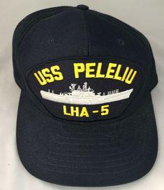 e2cf7ac0 Details about USS Peleliu LHA-5 Snapback Hat Blue US Navy Amphibious  Assault Ship Iron Nickel