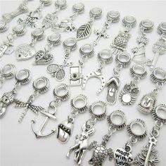 WYSIWYG Mix different 30pcs silver bead fit Pandora charm bracelet DIY dangle animal charms for pendants jewelry making