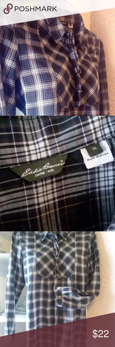 Eddie Bauer Woman Flannel Shirt HOST PICK I have a blue, green and white checkered, women button down, flannel shirt. XL. They are very soft. Made from 100% cotton. Light material. Great Buy! Eddie Bauer Tops