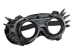 Metallic Silver Spiked Steampunk Adult Costume Welding Goggles w/Flip Up Lens