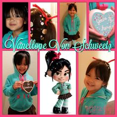 """Disney Costumes {Artistic Anya Designs} DIY Wreck It Ralph - Vanellope """"the Glitch"""" and Fix-It Felix Jr. Costumes for Kids - DIY Homemade Costume for Vanellope Von Schweetz, Fix-It Felix Jr, Wreck It Ralph characters - Disney Cosplay Movie Character Costumes, Disney Characters Costumes, Cartoon Costumes, Wreck It Ralph Halloween, Wreck It Ralph Costume, Venelope Von Schweetz Costume, Vanellope Von Schweetz, Disney Costumes For Girls, Halloween Costumes For Girls"""