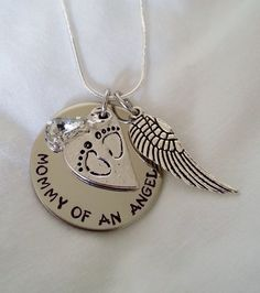 Infant loss / Miscarriage Mommy of an Angel Hand Stamped Jewelry by TempleStamping Infant Loss Awareness, Pregnancy And Infant Loss, Child Loss, Baby Hands, Memorial Jewelry, Hand Stamped Jewelry, Thing 1, Metal Stamping, Snapback Cap