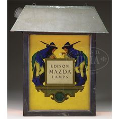 EDISON MAZDA LAMPS OUTDOOR LIGHT WITH MAXFIELD PARRISH ILLUSTRATION.