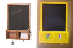 IKEA chalkboard - from functional to fabulous! Kids love it. Especially their initials - I cut them out of duct tape paper. Duct Tape, Initials, Paper, Kids, Furniture, Home Decor, Young Children, Boys, Tape