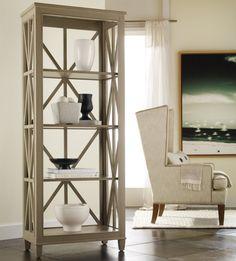 Mélange Holden Etagére Bookcase with Open Geometric Frame by Hooker Furniture - Belfort Furniture - Open Bookcase Washington DC, Northern Virginia (NoVA), Maryland, and Dulles, VA