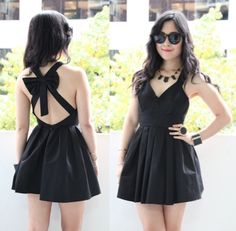 BLACK BOW BACKLESS OPEN CUT OUT BACK CROSS STRAP PLEATED SKATER DRESS 8AU