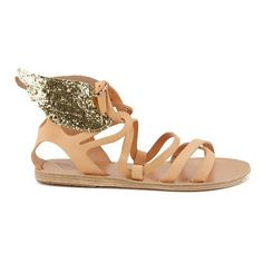Ancient Greek Sandals Women's Nephele Angel Wing Leather Flat Sandals... ($210) ❤ liked on Polyvore