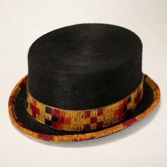 <b>Wool beaded and quilled half top hat.</b> Native American geometric design band and trim.
