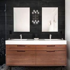 : Striking Regal Heights Contemporary Bathroom Design Interior Decorated With Small Wooden Double Bathroom Vanities Furniture Ideas Modern Bathroom Cabinets, Bathroom Renos, Bathroom Interior, Bathroom Ideas, Bathroom Faucets, Bathroom Organization, Bathroom Mirrors, Bathroom Towels, Bathroom Curtains