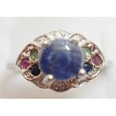 4.300 Gms Natural Srilankan Sapphire Ring in 925 Sterling Silver Ring with Ruby & Emerald