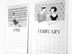 1920s style flapper doodle calendar