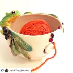 Gorgeous yarn bowls!! #Repost @hopnfrogpottery with @repostapp.  One of my yarn bowls has arrived at its new home and already being used by the lovely @wildaboutyarn who recently wrote an article about me in her magazine (link in her profile) #ceramics #pottery #yarn #yarnbowls #knit #bugs #ladybirds #ladybugs #frogs #sculpture #knitting #wildlife #nature #functionalart #art #craft #animals #australianceramics #gumnuts #leaves #insects #natureart #wool #wildaboutyarn These yarn bowls are…
