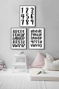 Bare walls in your child's room? Cover them with this Alphabet and Number digital print set of three from KNS Digital. Nursery Prints, Nursery Wall Art, Bedroom Wall, Wall Prints, Nursery Decor, Room Decor, Playroom Art, Nursery Neutral, Art Classroom