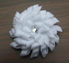 Felt White Flower with Rhinestone Center. $5.00, via Etsy.