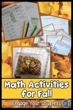 Do your students get a bit antsy before Fall Break? Try some of these engaging Fall math activities! Your students will be focused on math and having fun with food, task cards, coloring, and more! Gr 5-8