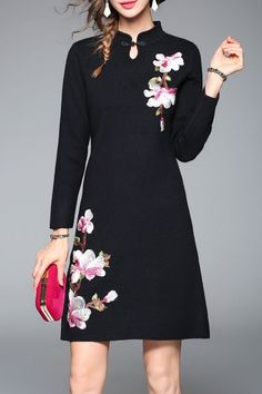 Blueoxy Black Floral Knit Dress | Sweater Dresses at DEZZAL