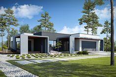 DOM.PL™ - Projekt domu PPE PRZEJRZYSTY D27 CE - DOM EG1-19 - gotowy koszt budowy Single Floor House Design, House Front Design, Small House Design, Modern House Design, Small Modern House Exterior, Modern Bungalow House, Residential Building Design, Home Building Design, Flat Roof House