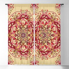 Gold and red mandala design Blackout Curtain Blackout Windows, Blackout Curtains, Mandala Design, Curtain Rods, Throw Pillows, Red, Toss Pillows, Cushions, Blockout Blinds